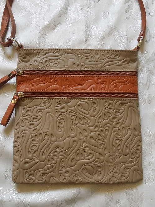 Embossed leather cross-body bag(Mushroom & Tan)
