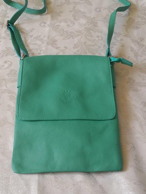 Large Flap Leather bag (Aqua)