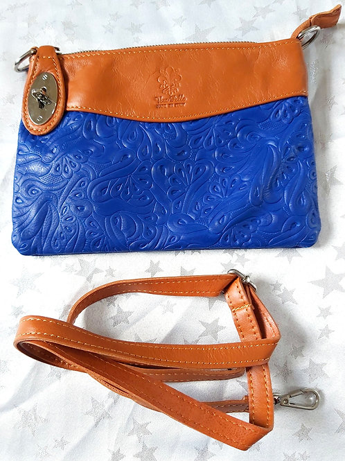 N.S.Embossed Leather Bag (Blue and Tan)