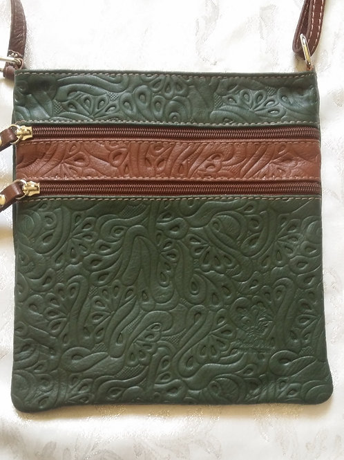 Embossed leather cross-body bag (D.Green & Chocolate))