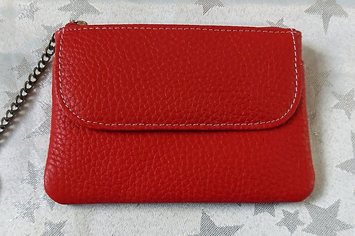 Italian Leather Card Purse (Cherry Red)