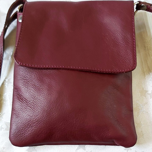 Small Flap Leather Cross-Body Bag (Burgundy)