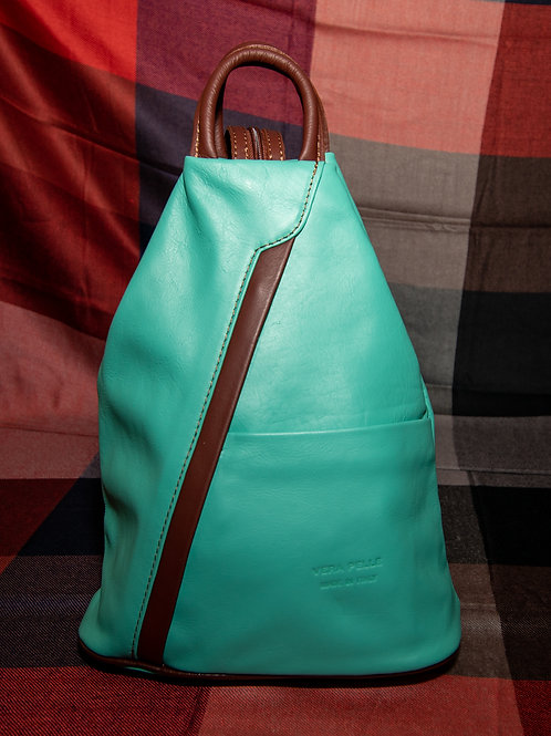 Leather Rucksack in Aqua and Chestnut Brown
