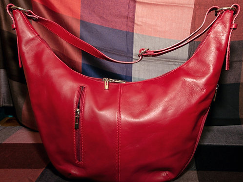 Leather Crescent Moon Bag (Red)