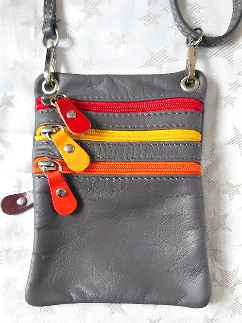 Zip Purse Leather bag (Grey)
