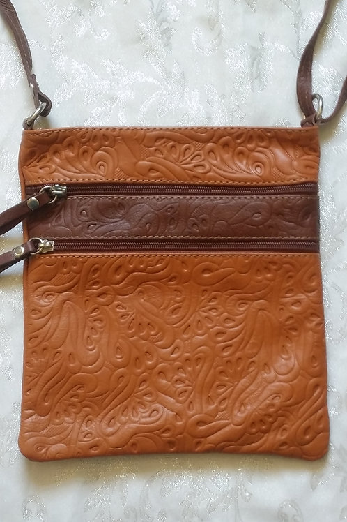 Embossed Leather Cross-body bag (Tan)