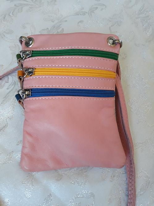 Zip Purse Leather bag (Light Pink)