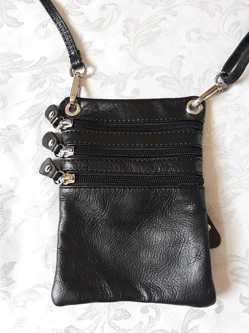 Zip Purse Leather bag (Full Black)