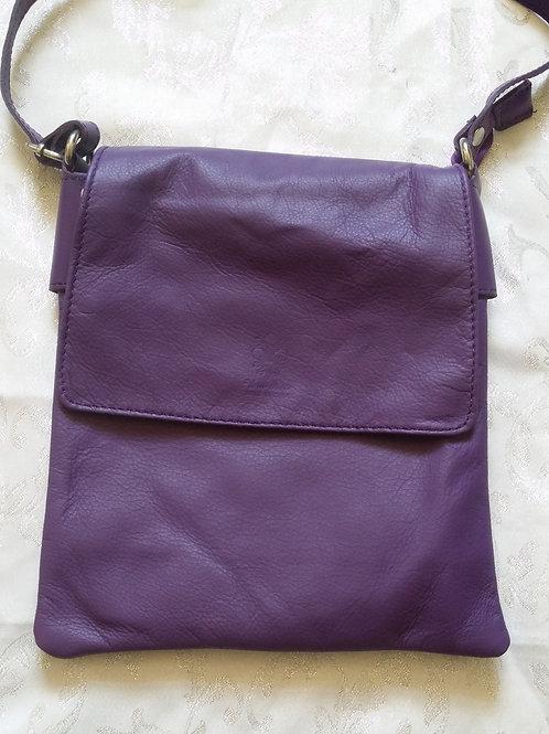 Large Flap leather bag (Purple)