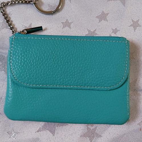 Italian Leather Card Purse (Aqua)