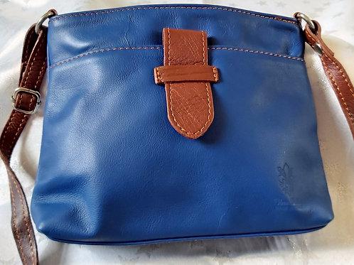 Italian Leather sq.w.tb bag (Blue & Chestnut)