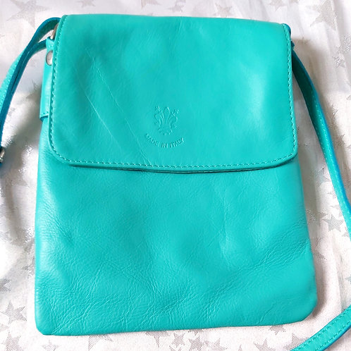 Small Flap Leather Cross-Body Bag (Aqua)