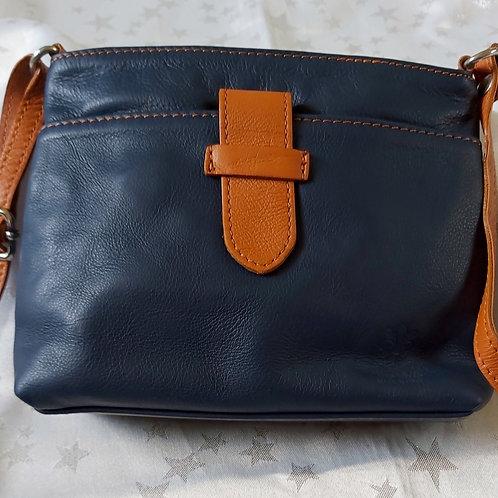 Italian Leather sq.w.tb bag (Navy & Tan)