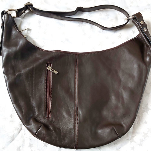 Leather Crescent Moon Bag (Dark Brown)