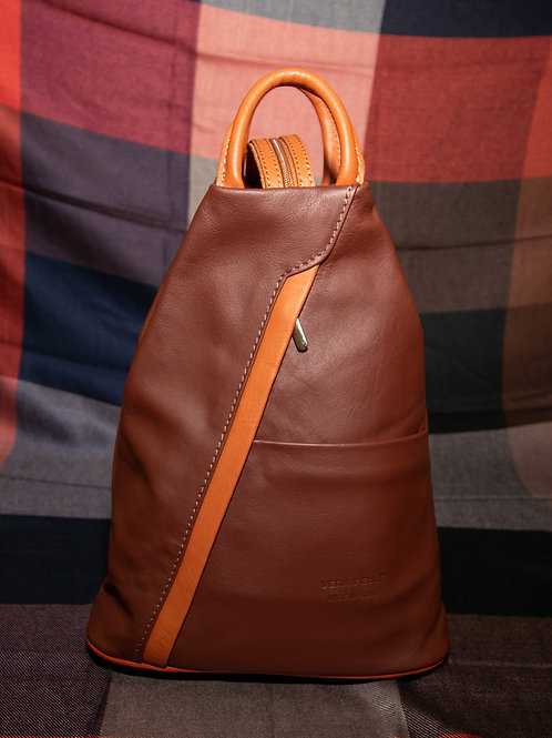 Leather Rucksack in Chestnut Brown and Tan