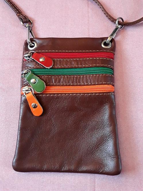 Zip Purse Leather bag (Chestnut)