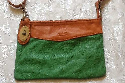 N.S.Embossed leather bag (Green & Tan)