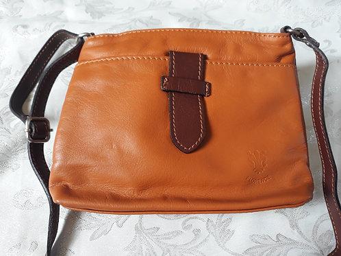 Italian Leather sq.w.tb bag (Tan & Chestnut)