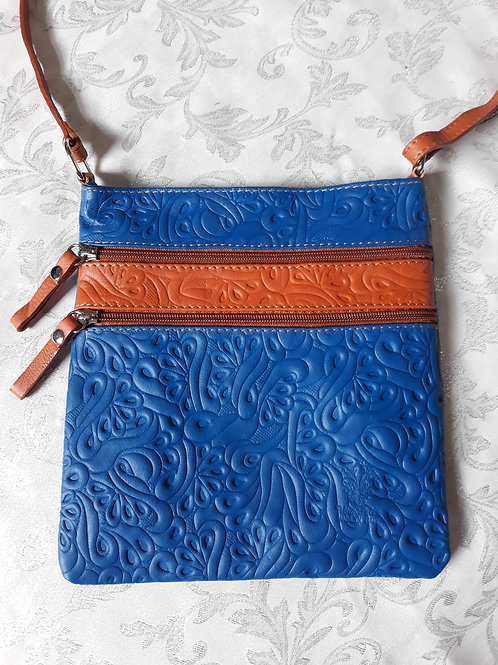 Embossed leather cross-body bag (Blue)