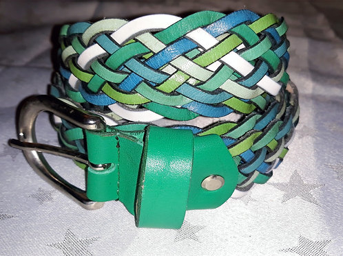 Large Leather Belt (Multi-Green)
