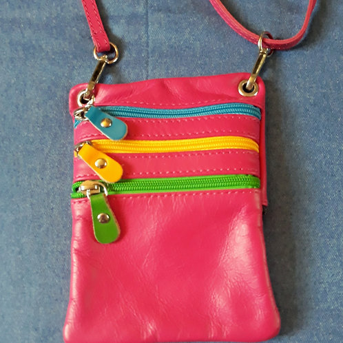 Zip Purse Leather bag (Pink)
