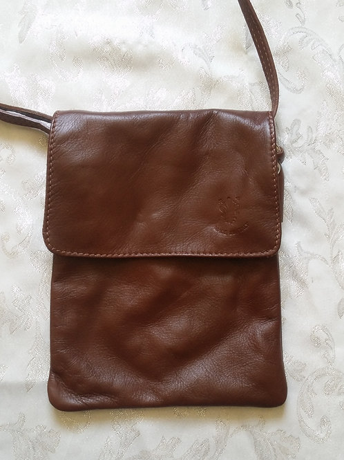 Small Flap Leather Cross-Body Bag (Chestnut)