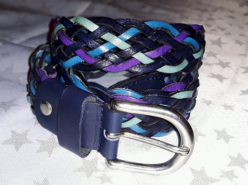 Large Leather Belt (Purple & Navy)