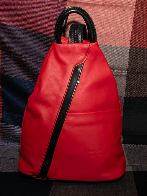 Leather Rucksack in Red and Black