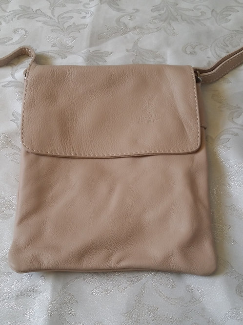 Small Flap Leather Cross Body Bag (Beige)