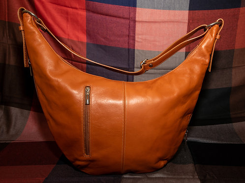 Leather Crescent Moon Bag (Tan)