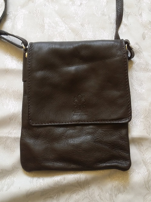 Small Flap Leather Cross-Body Bag (Dark Brown)