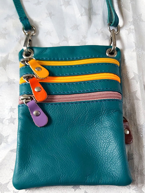 Zip Purse Leather bag (Teal)