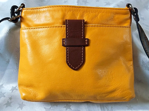 Italian Leather sq.w.tb bag (Yellow and Chestnut Brown)
