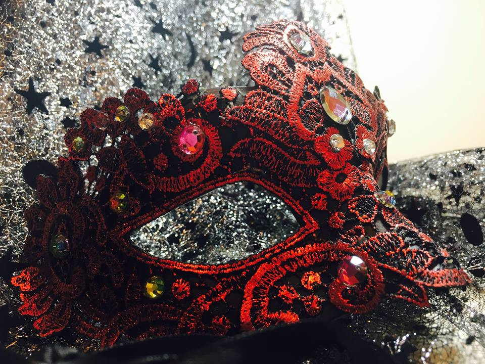 Red mask with rhinestones