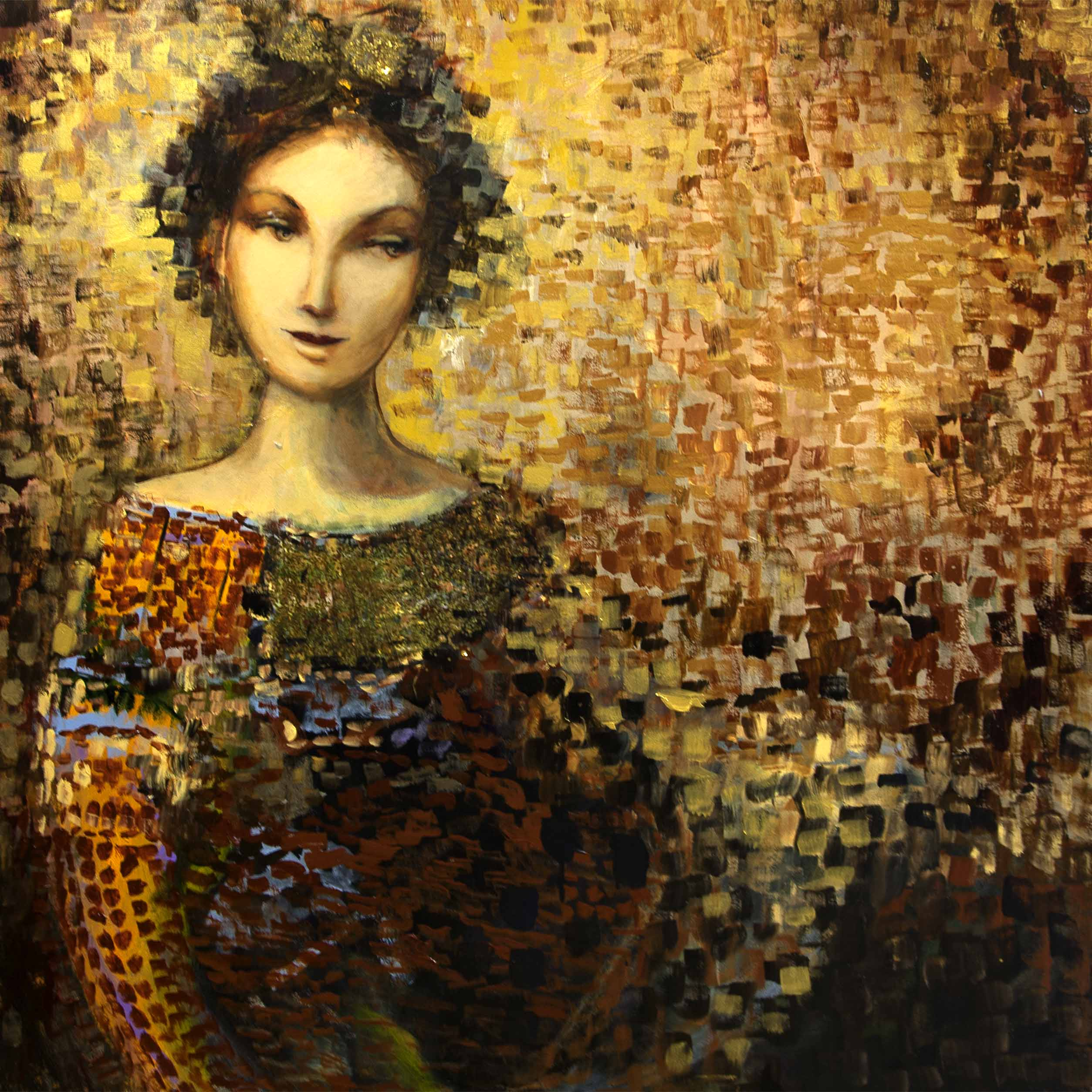 "The golden Shawl - 48"" x 48"""