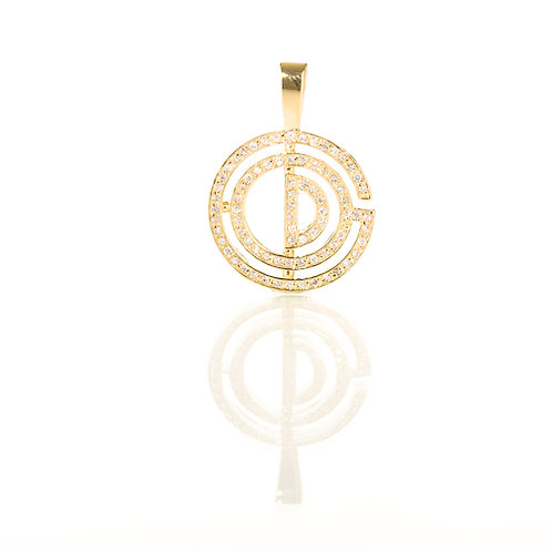90 Stone Brass Base Pave Gold Pendant