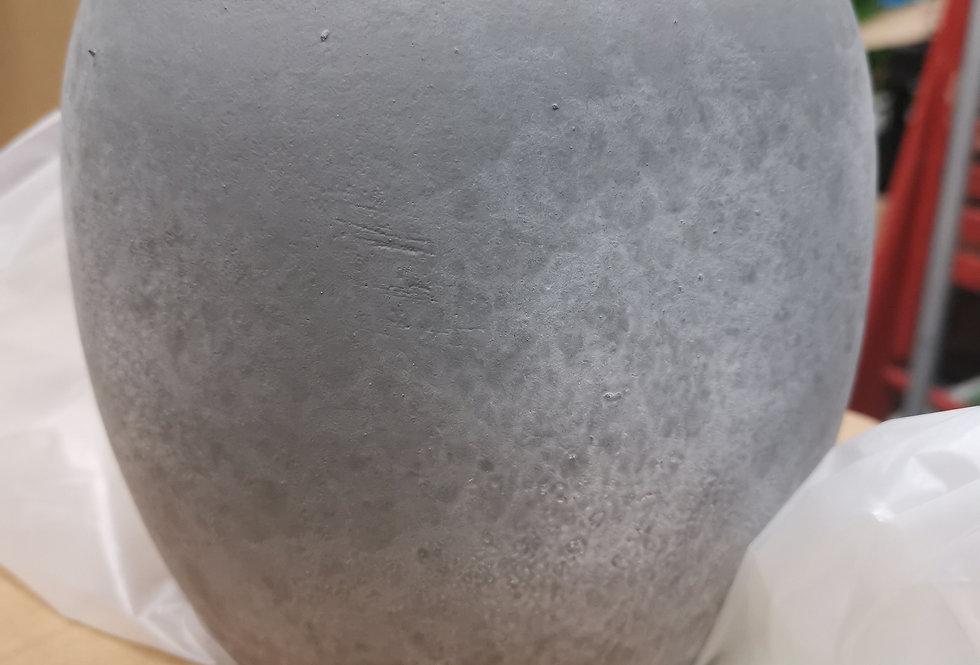 Lester pot round grey stone - h14xd16
