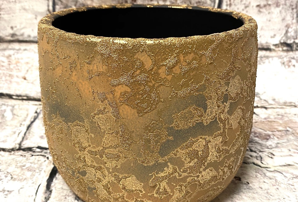Golden rustic pot -medium d15