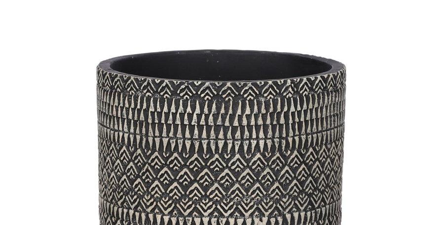 Kjeld pot round black - h12,5xd14