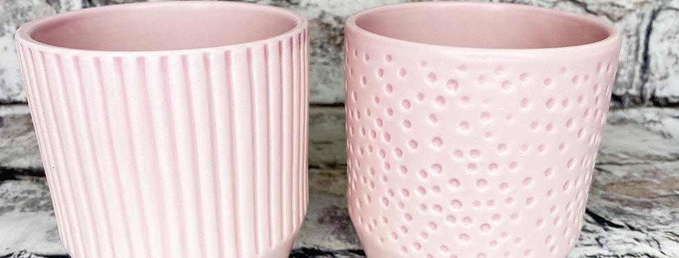 Pink pot / stripes/dots d9