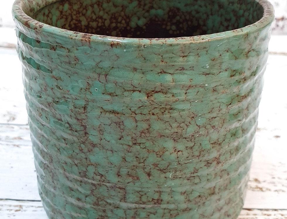 Green/brown ceramic pot