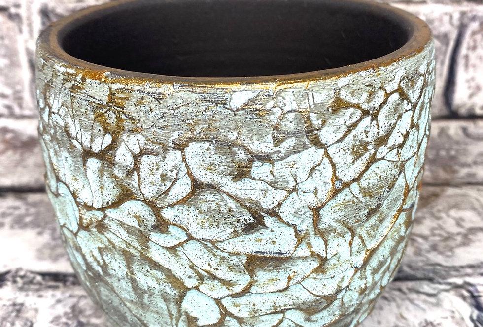 Turquoise gold ceramic d12 pot