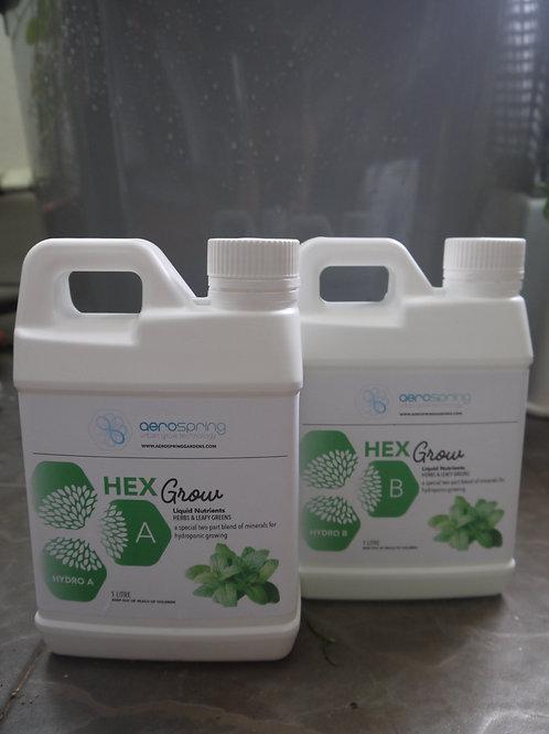2 Liter HexGrow Hydro Green A & B Formel. Flydende plante næring