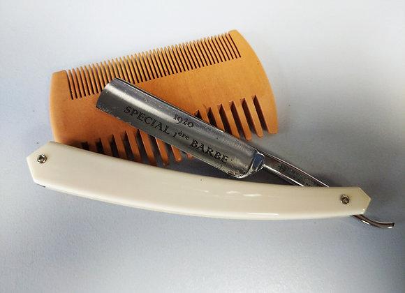 "Rasoir ""Première barbe"" 4/8 chasse plastique blanc"