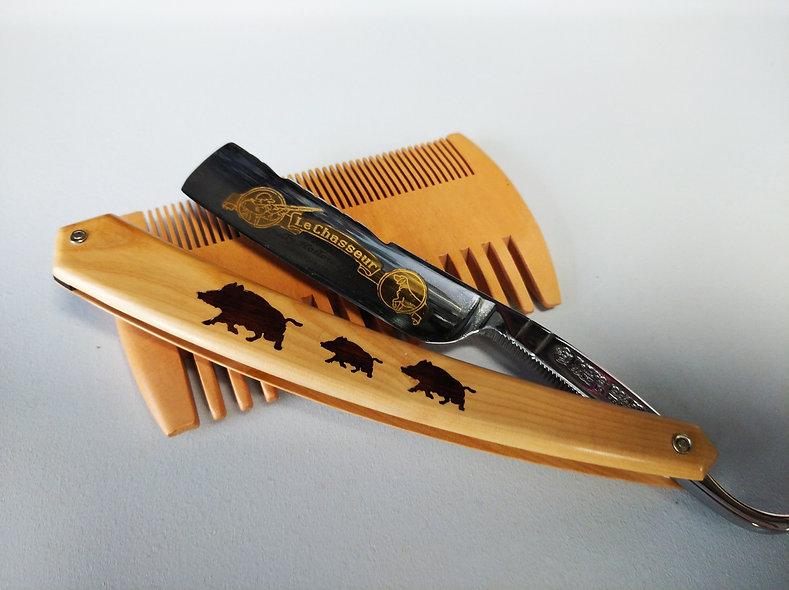Rasoir 5/8  en Buis collection 3 sangliers épi de blé chasseur doré