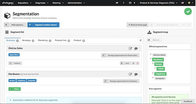 Segmentation on the Strategeex tool