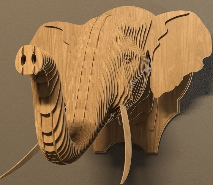 Laser cut Elephant head
