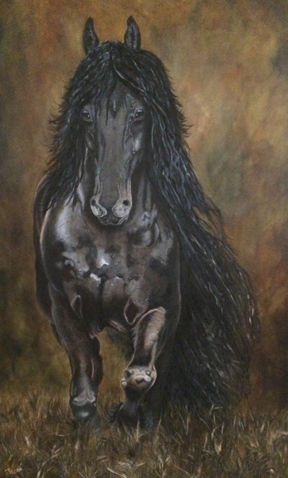 Frisian horse oil painting