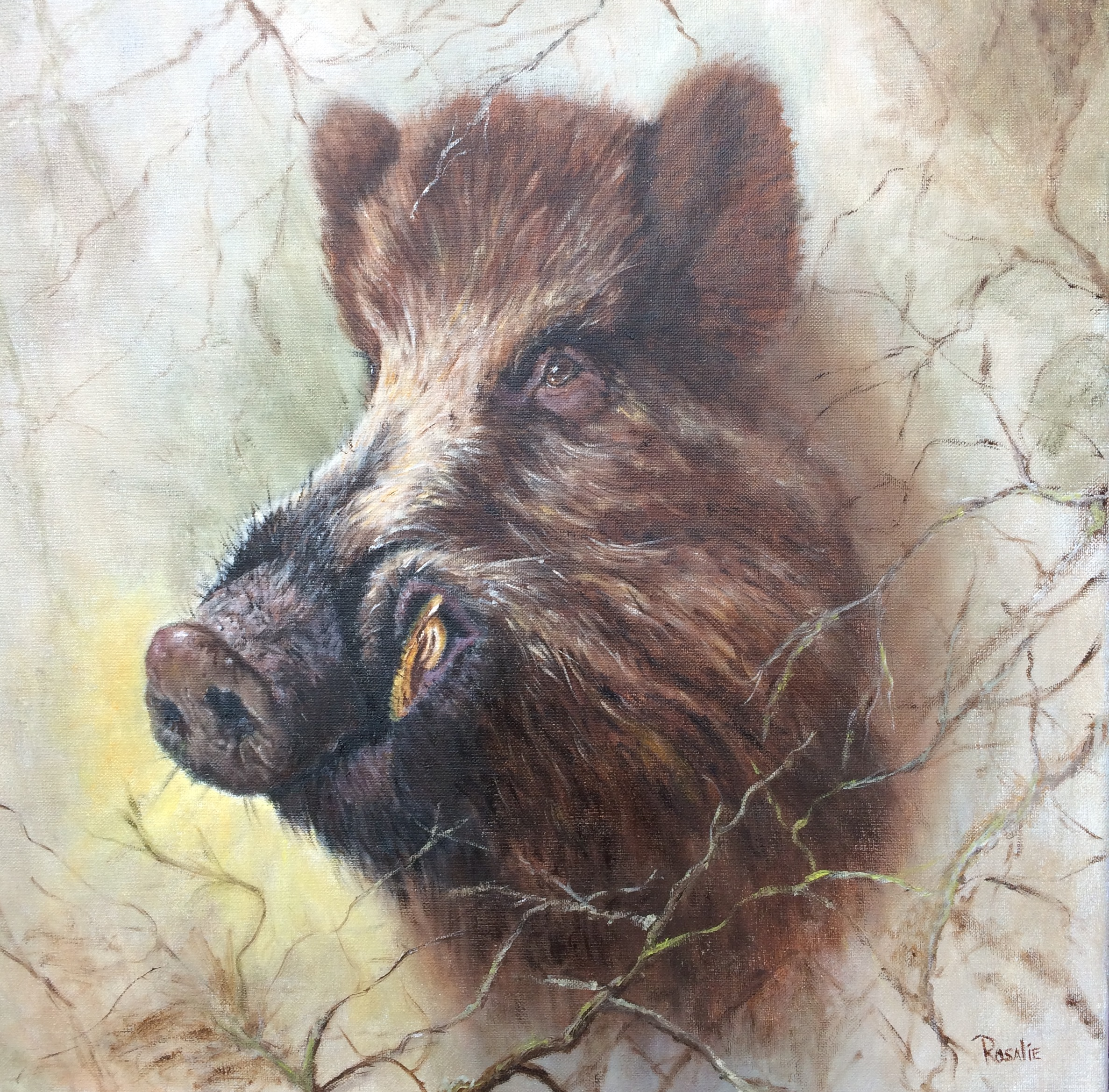 wild boar oil painting