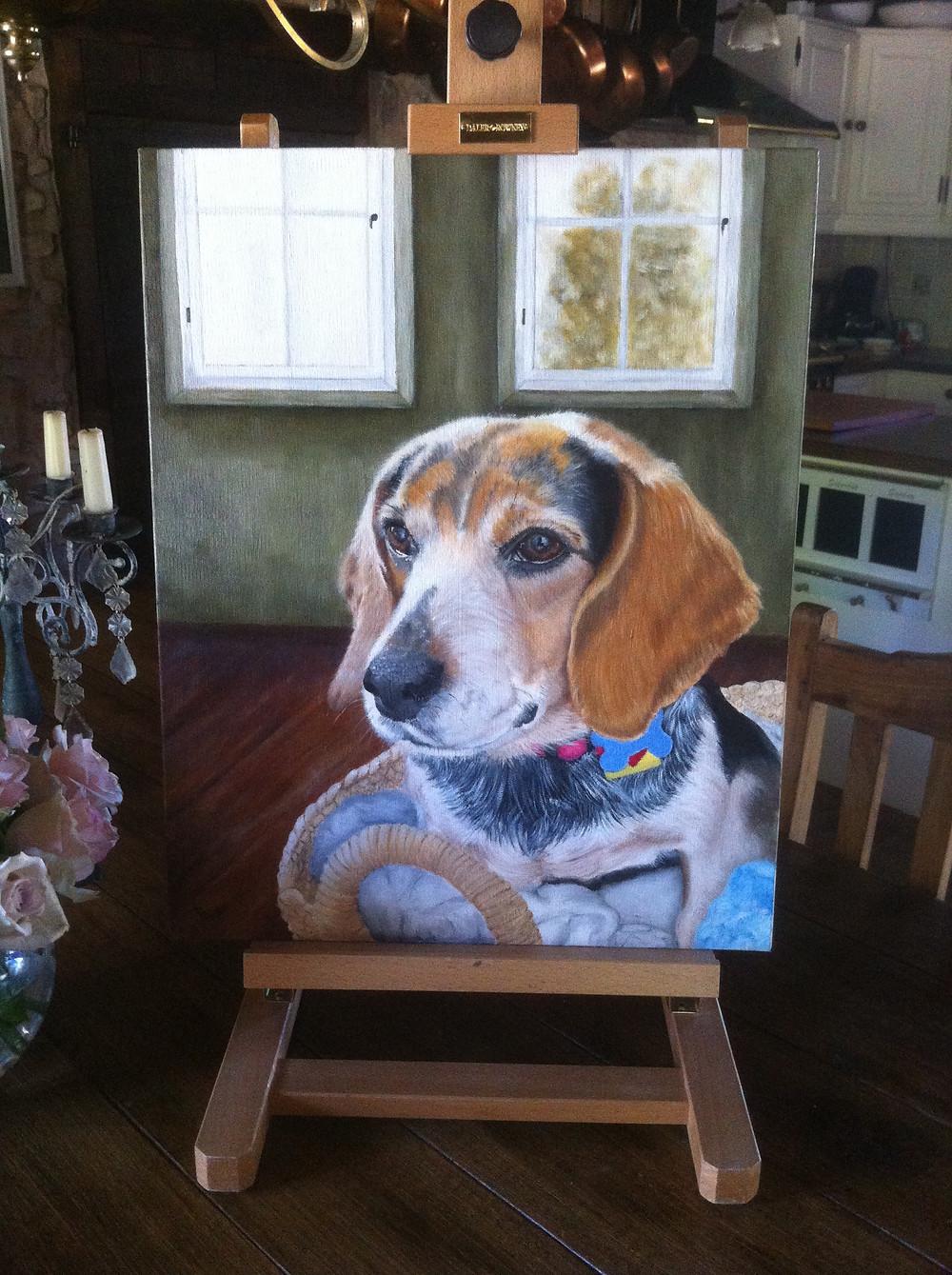 dog oil portrait beagle